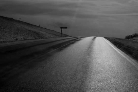 black and white, photo, light, road, January,