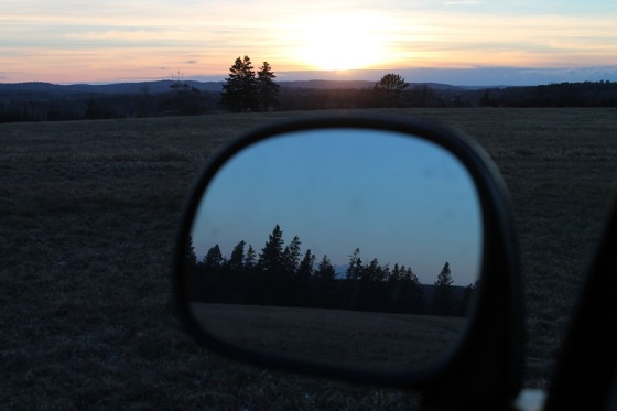 colour, landscape, sunset, side mirror,  Newport, Nova Scotia,