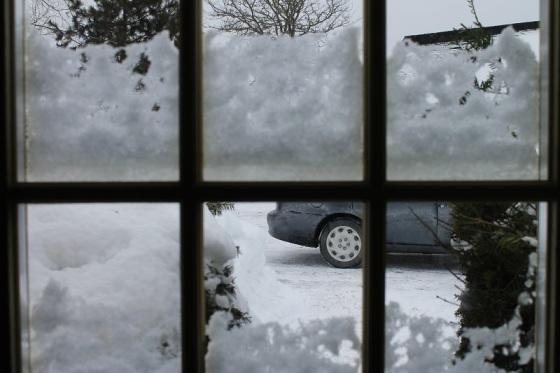winter, window view, snow,