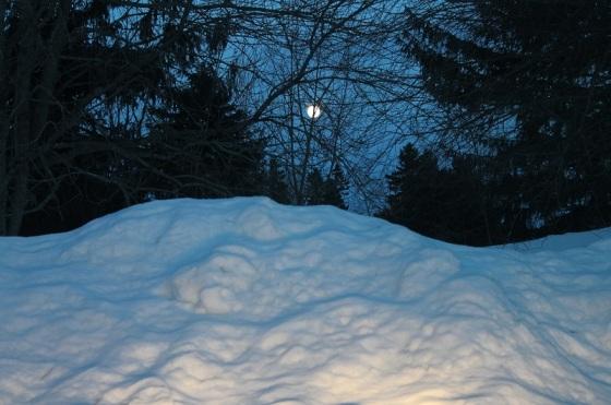 moon, March, snow, winter,