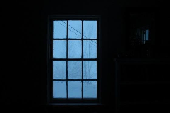 window view, storm, blue, winter,