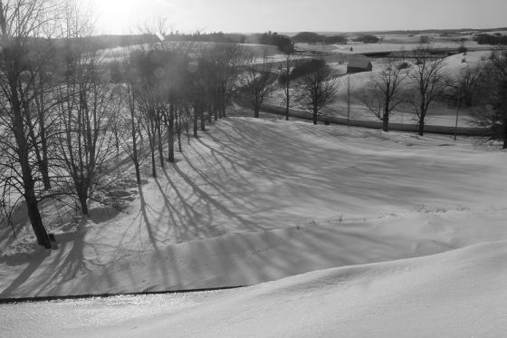 landscape, window view, snow, spring,