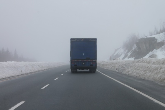 Highway 101, truck, fog,