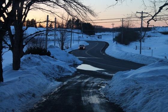 landscape, Route 14, sunset, March, snow,