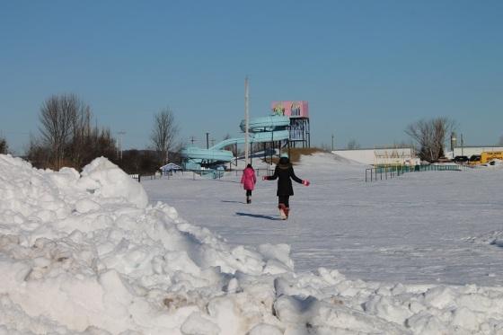 photo, colour, winter, water slide,