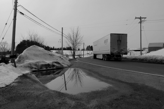 semi truck, puddle, reflection,