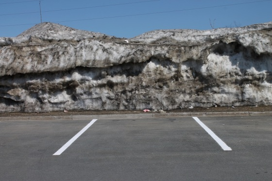 spring, snow bank, parking lot,