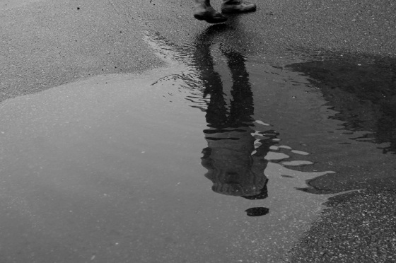 puddle, distortion, human figure, reflection,