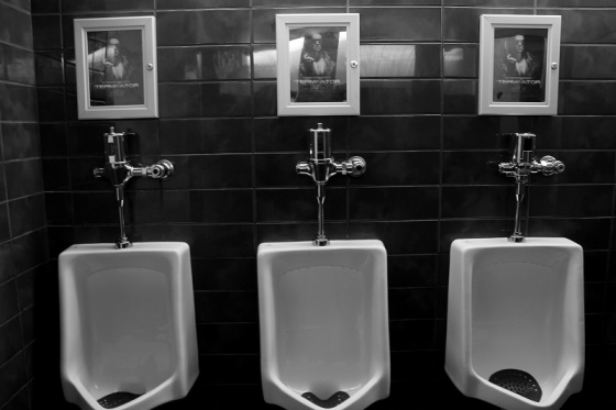 urinals, move posters, men's room, The Terminator,