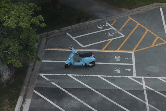 Vespa, parking lot, motor scooter,