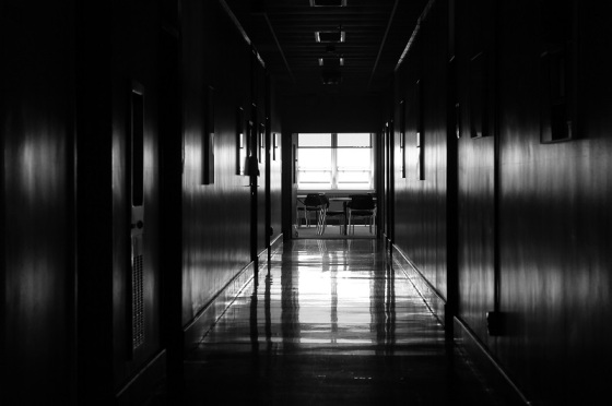 black and white, hallway, window