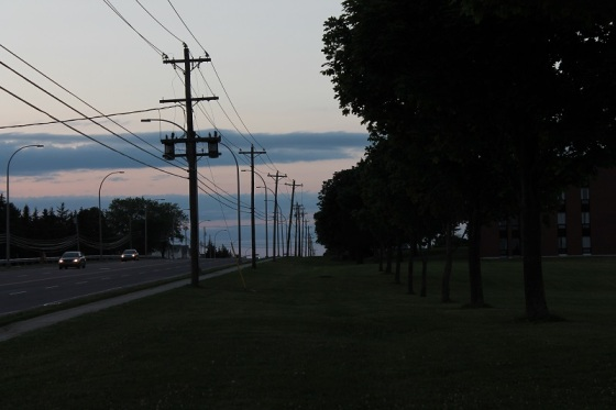 Power poles, twilight,