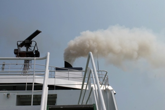 ferry, exhaust, smoke,