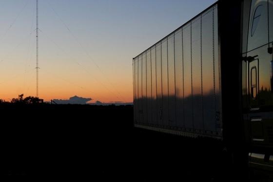 semi truck, sunset,