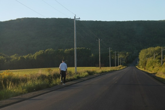 pedestrian, country road, Annapolis Valley, North Mountain, summer,