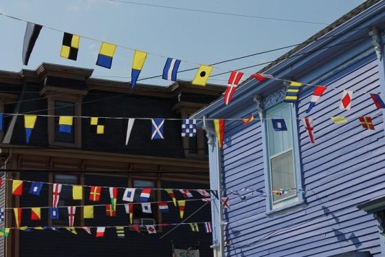 flags, street,