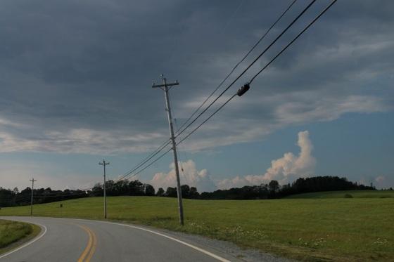 summer, landscape, clouds, poles,