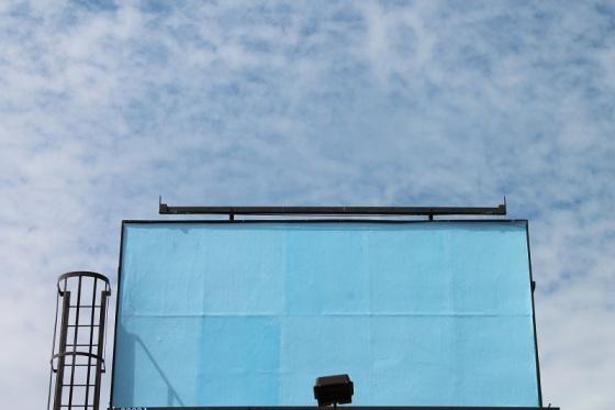 blue sky, blue sign, juxtaposition,