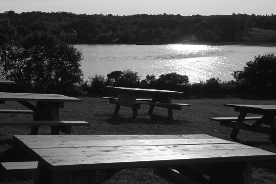 picnic tables, sunset,