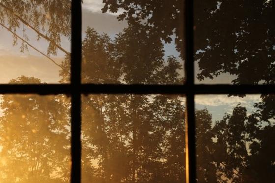 sunset, window view,
