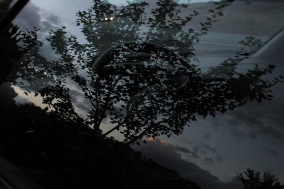 twilight, reflection, headlights,