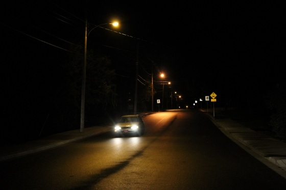 night, Wiley Avenue, street, car, Canadian flag, maple leaf,