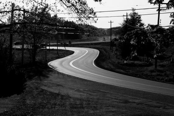 S-Curve, pavement, Route 14, Hants county, Nova Scotia,