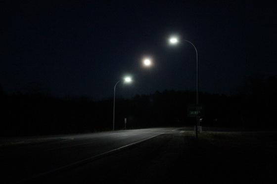 full moon, streetlights, night,