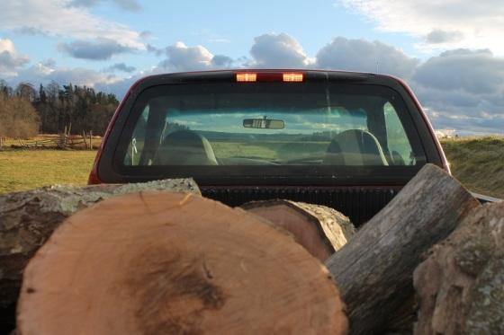 firewood, truck, autumn,