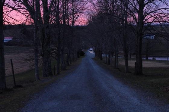 sunset, driveway,