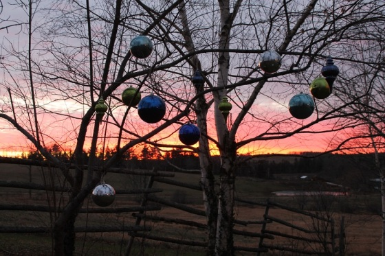 Christmas decorations, December, ornaments, outdoors, sunset,