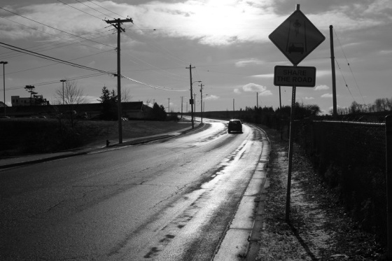 dramatic light, share the road, sign,
