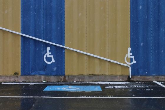 wheelchair parking, slide. rain spout, humor,