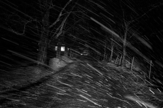 snow storm, night,