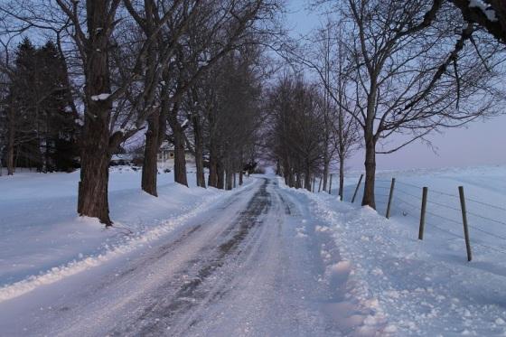 winter, snow, driveway,