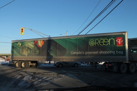 semi truck, green shopping bag,