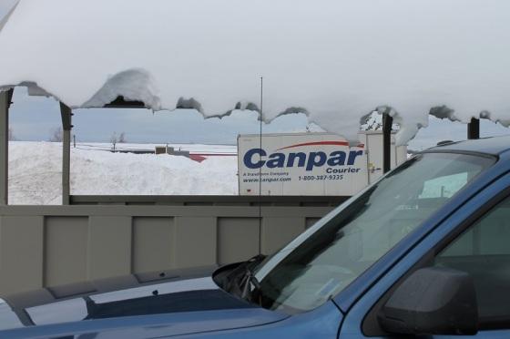winter, snow, parking lot,