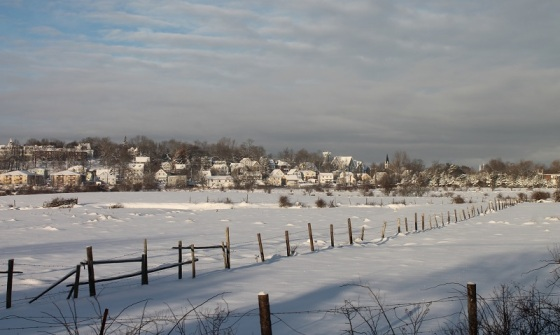 town, field, snow, winter, Windsor, Hants County, Nova Scotia,