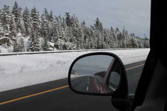 winter, highway 101, rear view, snow,
