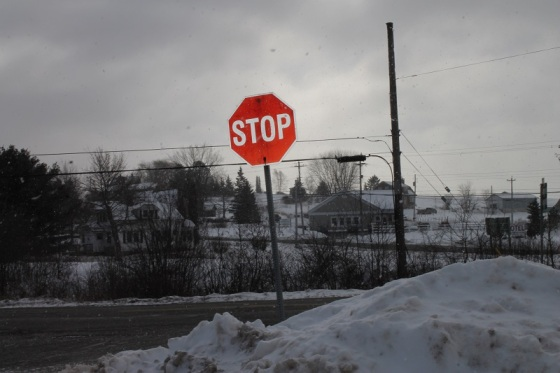 stop sign, snow, winter,