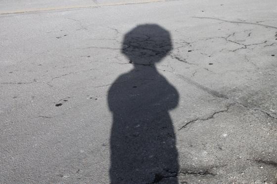 shadow, selfie, stop sign,