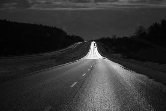 Highway 101, dramatic light, winter, sun, pavement,