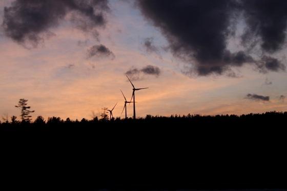 wind turbines, sunset,
