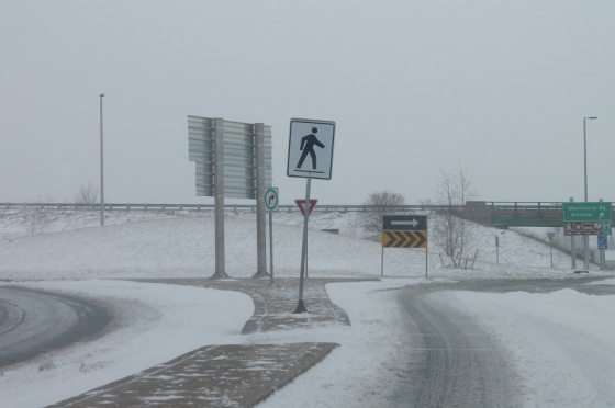 winter, snow, traffic circle, signs,