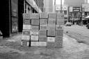 beer cases, sidewalk,