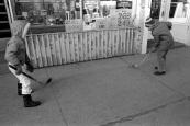 ball hockey, sidewalk, Toronto, 1983,