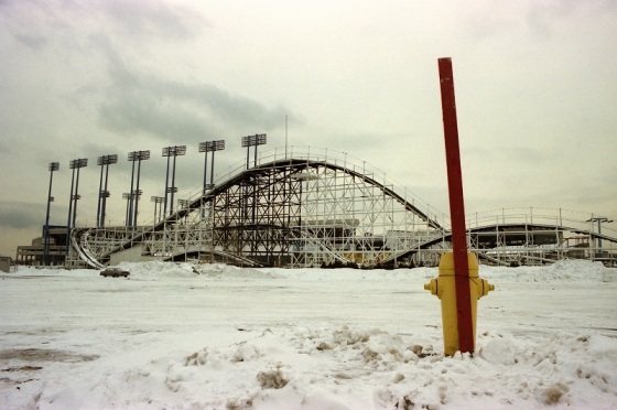 The Mighty Flyer, wooden rollercoaster, 1982, winter,