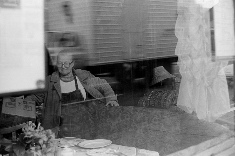 street, reflection, Toronto, 1980,