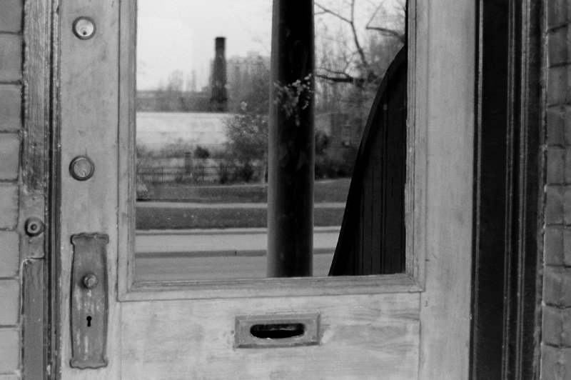 doorway, reflection, Toronto, 1980,