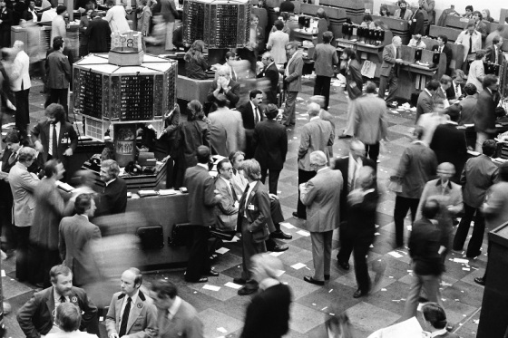 Toronto Stock Exchange, trading floor, 1981